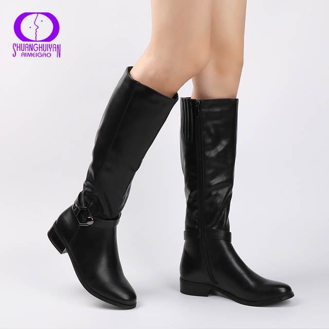 Aimeigao High Quality Knee High Boots Women Soft Leather Knee Winter