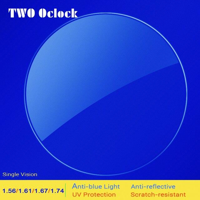Два Oclock 1,56 1,61 1,67 1,74 индекс прозрачные Рецептурные очки Объектив минус анти синий свет Антибликовое покрытие оптические линзы