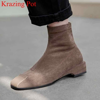 superstar flock slip on square toe low heels women ankle boots concise strech boots party elegant keep warm winter shoes L8f1