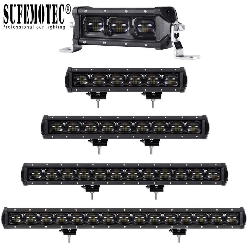 Barra de luz de led para lentes 6d, fileira única, 4x4, offroad, para caminhões off road, 4wd, suv, atv 12v 24v reboque motocicleta carro luzes externas
