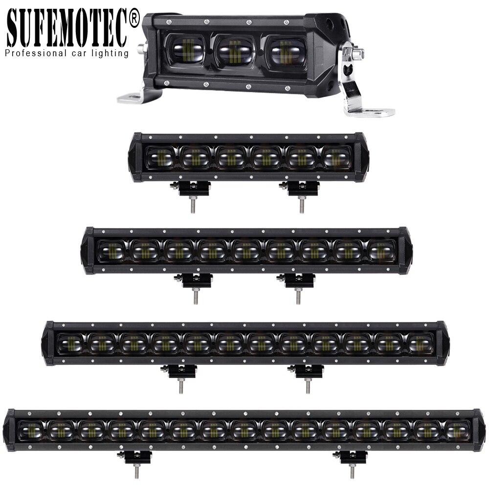 6D lentille LED une rangée 4x4 Offroad travail barre lumineuse pour hors route 4WD camions SUV ATV 12 V 24 V remorque moto voiture lumières externes