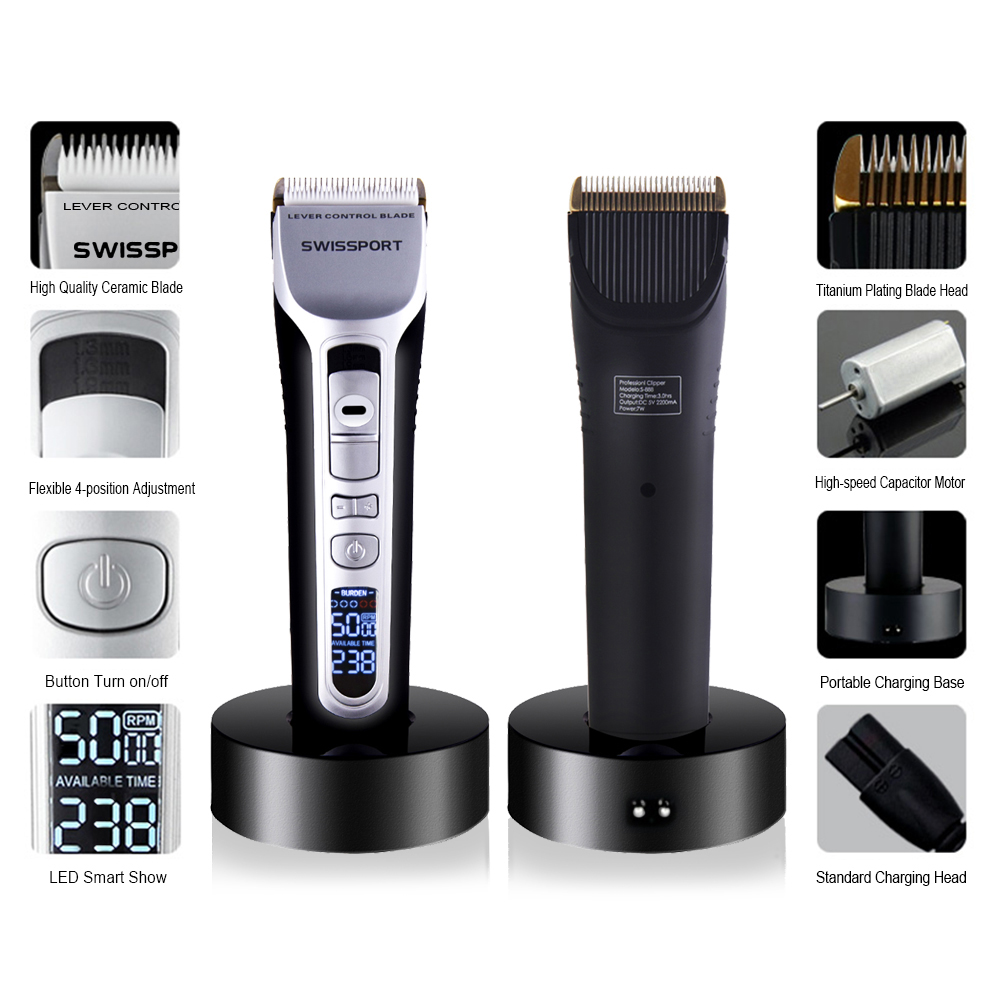Professional Electric Hair Clipper Rechargeable Hair Trimmer Titanium Ceramic Blade LCD Display Salon Hair Cutting Machine kemei838 intelligent lcd display li ion battery rechargeable hair clipper speed control hair trimmer with charge stand 110 240v