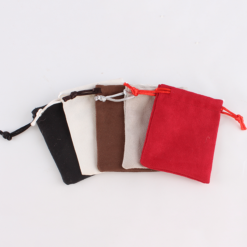 20pcs/lot 7*9cm Double Side Suede Bag Custom Logo Print Pouch Drawstring Bags For Jewelry Earring Ring
