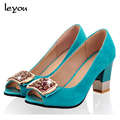 Women New Crystal Diamond Thick Middle Heel Sandals Peep Toe Slip On Sandals Shoes US5-9.5 Four Colors