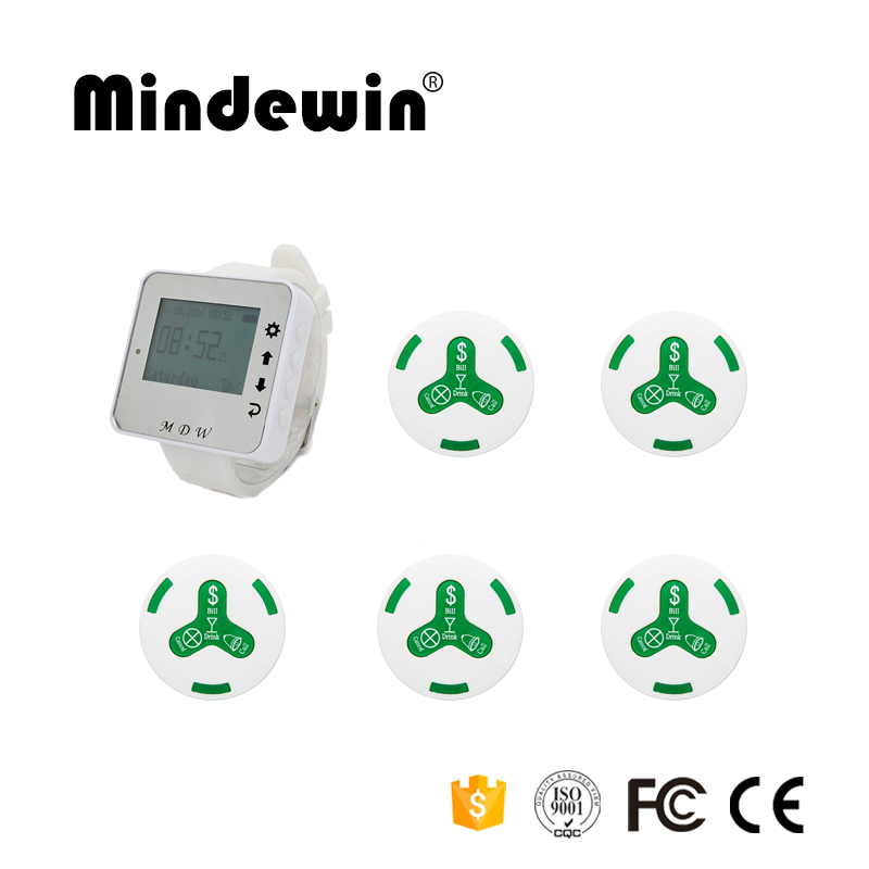 Mindewin 1pc Watch Receiver+5pcs Call Button 433MHz Wireless Calling Paging System Guest Service Pager Restaurant Equipments 433mhz wireless restaurant cafe service calling paging system call pager with receiver host and call transmitter button f3260