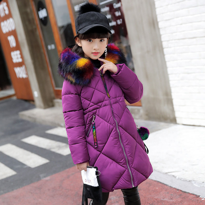 Children -30 Degrees Down Jacket Girl Winter Coat Long Sleeve Fur Collar Cotton Long Jacket 2018 New Kids Warm Coats ethnic style flower print black and white collar long sleeve bomber jacket
