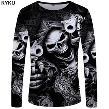 KYKU Brand Skull Long sleeve T shirt Gun Clothes Punk Clothing Gothic Tshirt Funny T shirts Tees Men Hip hop Punk High Quality(China)