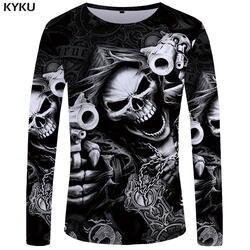 KYKU бренд череп с длинным рукавом Футболка пистолет одежда панк костюмы Готический забавная s футболки для девочек для мужчин хип хоп