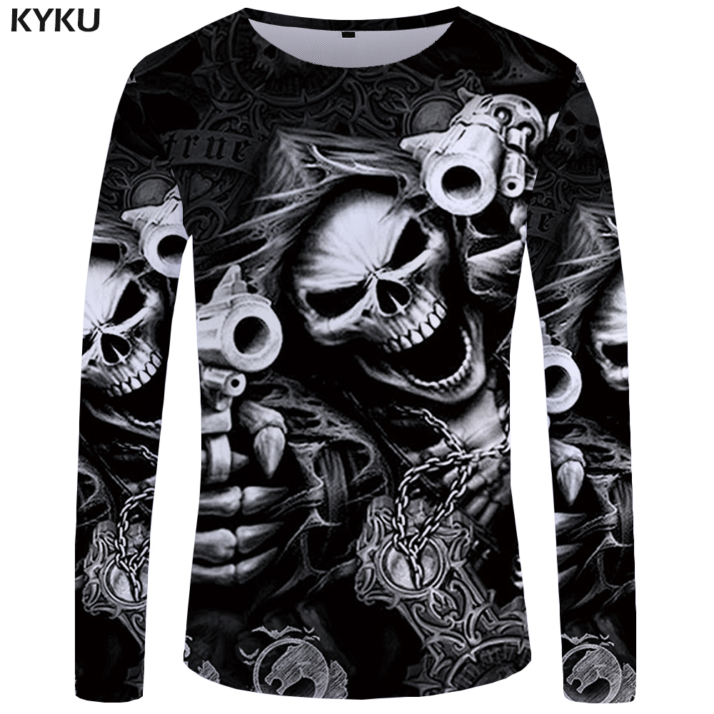 KYKU Brand Skull Long sleeve   T     shirt   Gun Clothes Punk Clothing Gothic Tshirt Funny   T     shirts   Tees Men Hip hop Punk High Quality