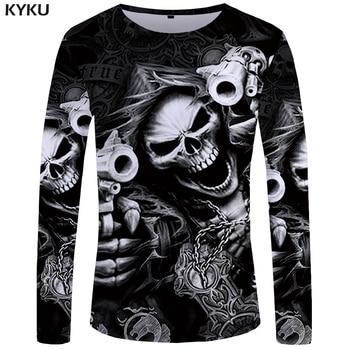 f3cc9460a5b0a KYKU Marka Kafatası Uzun kollu T gömlek Tabancası Giysi Punk Giyim Gotik  Tshirt Komik T shirt Tees Erkekler Hip hop punk Yüksek Kalite