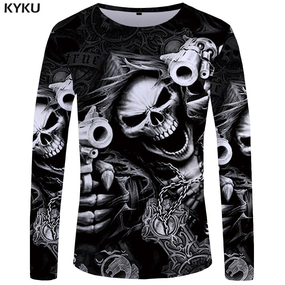 KYKU marca cráneo largo manga T camisa pistola ropa Punk gótico camiseta divertido T camisas hombres Hip hop punk de alta calidad