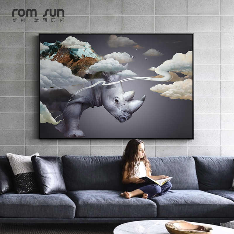 Abstract Clouds on Rhinoceros Canvas Painting Poster Print Modern Wall Art Pictures For Living Room Bedroom Entrance Lobby Aisle