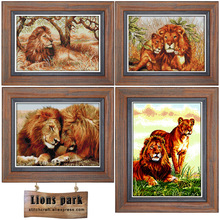 все цены на Lion family ,Lion couple, King of the forest Canvas DMC Fabric Counted Cross Stitch Kits Embroidery Cross-stitch set Needlework онлайн