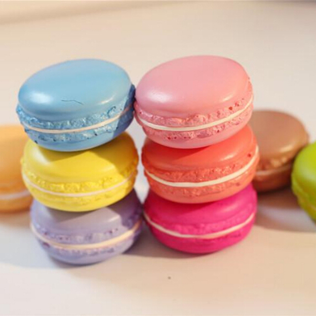 1PC Kawaii Soft Dessert Macaron Squishy Cute Toys Pretend Kitchen ...