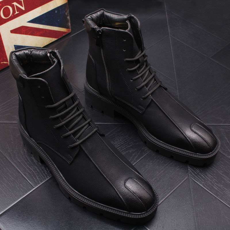 ERRFC Winter Thick Bottom Mens Mid Calf Boots Fashion Round Toe Lace Up High Top Casual