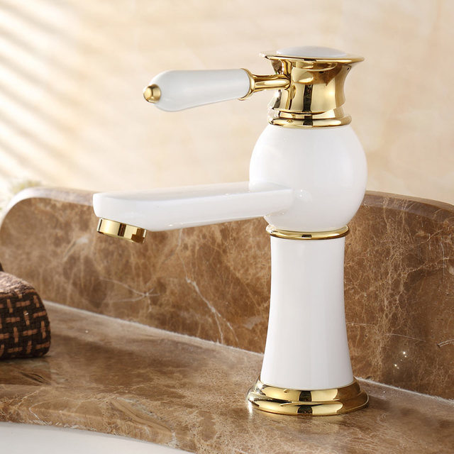 Contemporary Concise Bathroom Faucet Baked White Paint Brass Basin ...