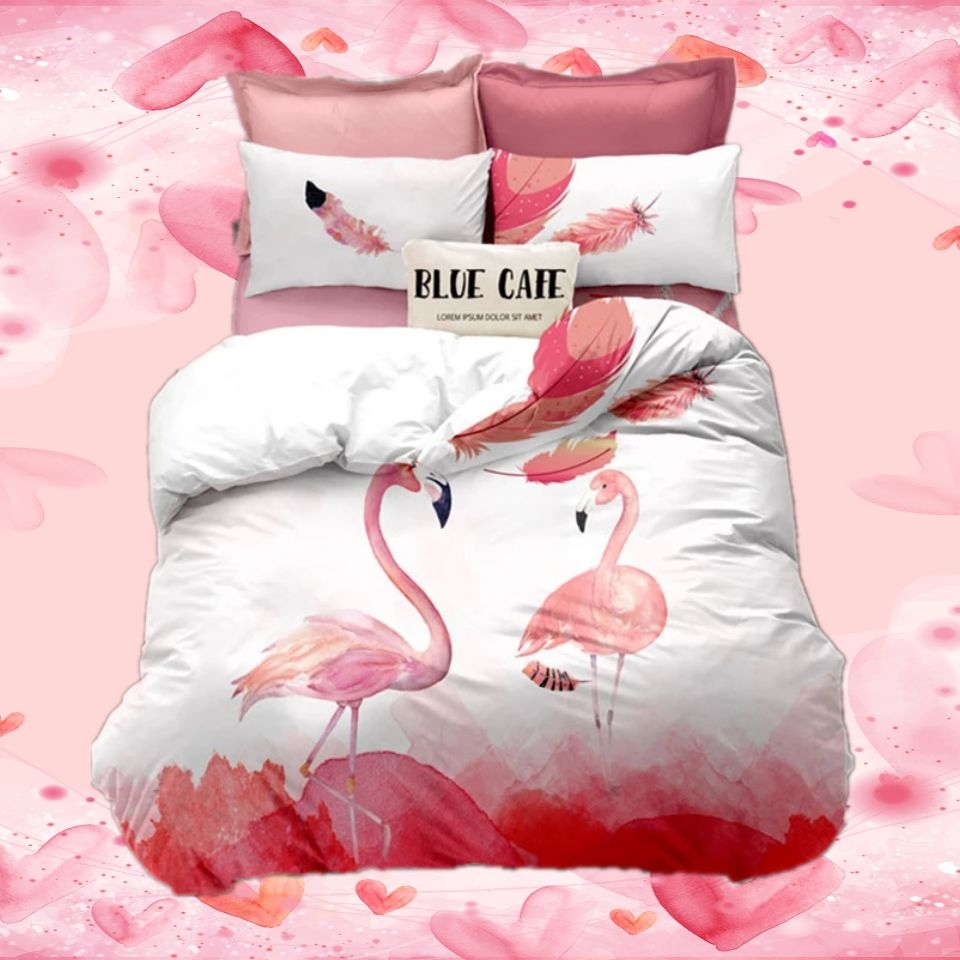 Flamingo Bedding Bed Linen For Girl Duvet Cover Cotton Polyster Bed Cover Set Bed Cloth Queen Cozy  Animal Single Double