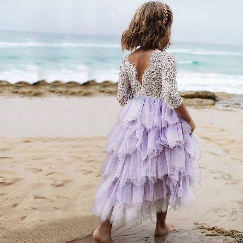 Summer Lace Girl Dress 2019 White Backless Girls Teenage Princess Dress Irregular Tutu 2-8 Years Pink Children Dresses Pink 3