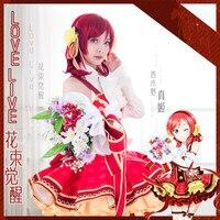 Anime Miłość Na Żywo! Nishikino Maki Japoński Anime Cosplay Kostiumy Bukiet Kwiatów Pełny Zestaw Bezpłatną Wysyłkę