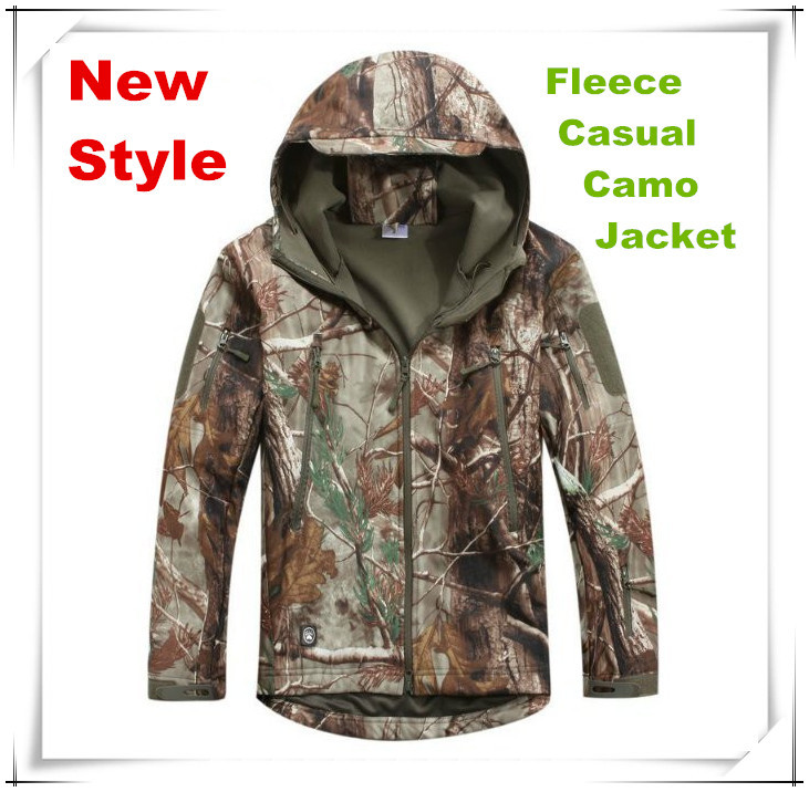 TAD soft shell fleece camo camo Jacket bionic leaves camouflage hunting clothing coat suitable for spring, autumn and winter