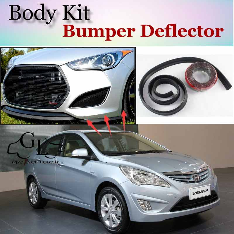 For Hyundai Accent Verna Bumper Lip Lips Front Spoiler Deflector For Topgear Friends Car Tuning Body Kit Strip Skirt