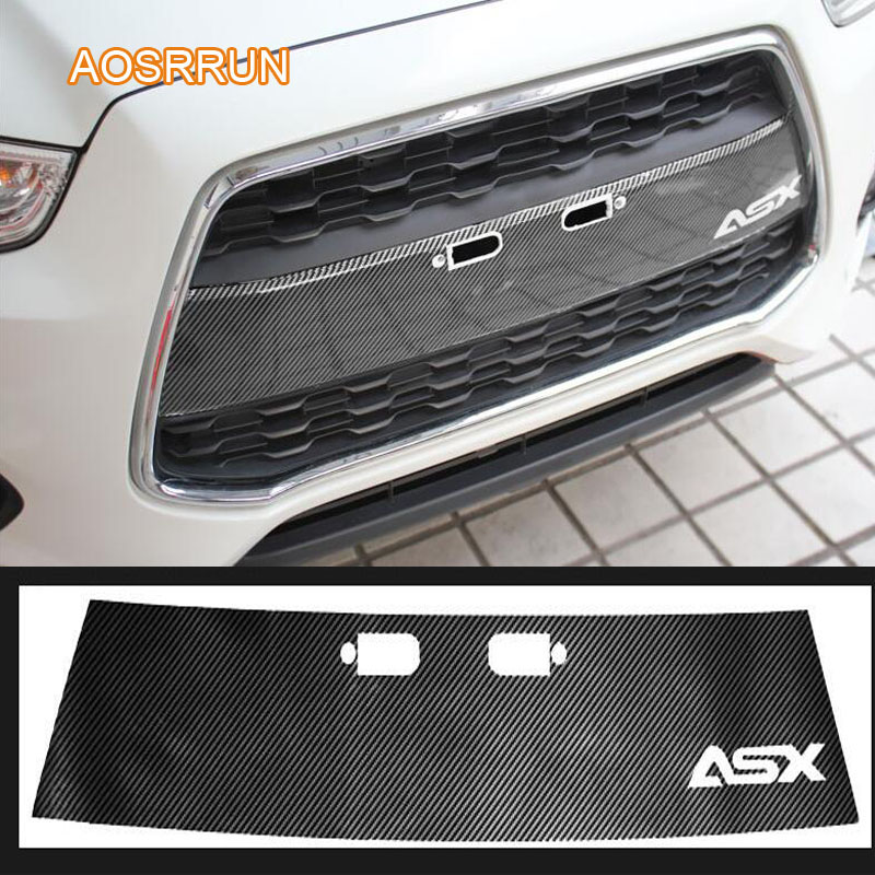 AOSRRUN Carbon fiber medium net sticker front face big mouth stick Car accessories cover For Mitsubishi ASX 2018 ...