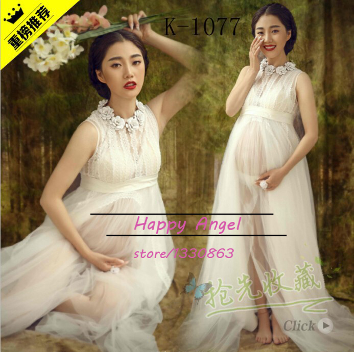 ФОТО New Pregnant Maternity Women Photography Fashion Props Chiffon Dress Pure white Romatic Fancy Baby Shower Gift Free shipping