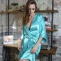 Marca Nova Moda Das Mulheres de Seda do Sono & Lounge Lingerie Tentação Clássico Camisola Kimono Sleepwear Robe Vestido Com Cinto 041107