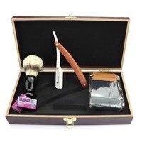 Steel straight razor men's razor wooden handle hair razor classic scraper + 20 blade professional razor set