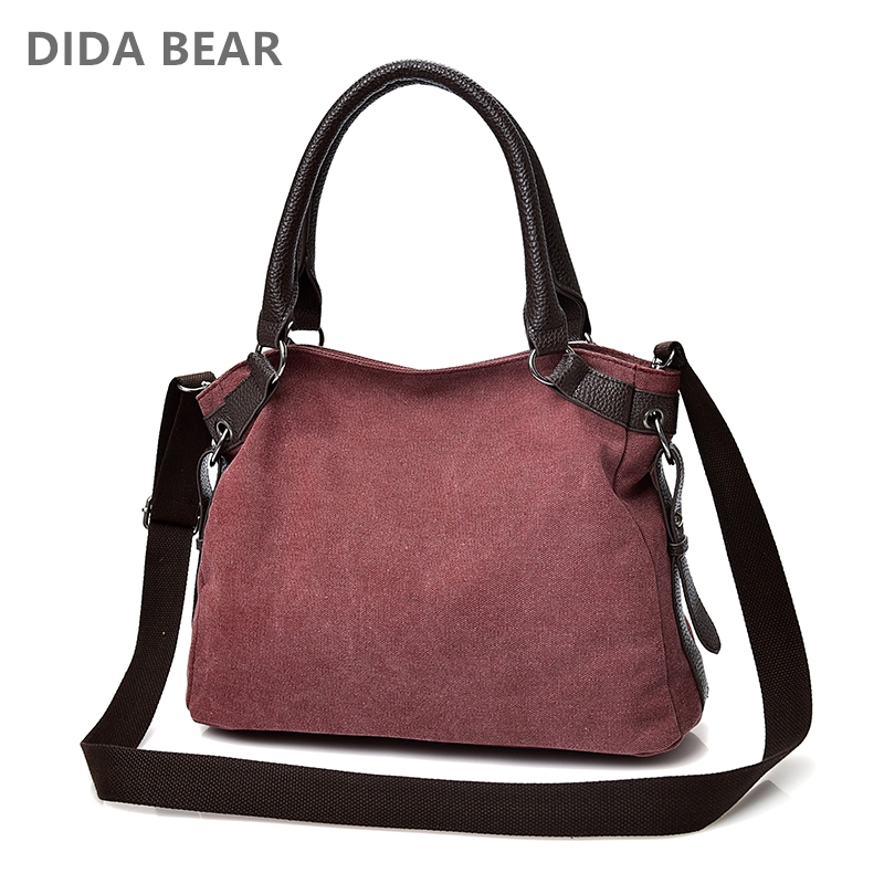 DIDA BEAR Women Tote handbags Canvas Shoulder Bag Large Space Messenger Bags Female Crossbody Bags for Travel School Shopping girl canvas handbag mini single shoulder crossbody messenger tote bag women swagger bag female shopping bags bucket pack