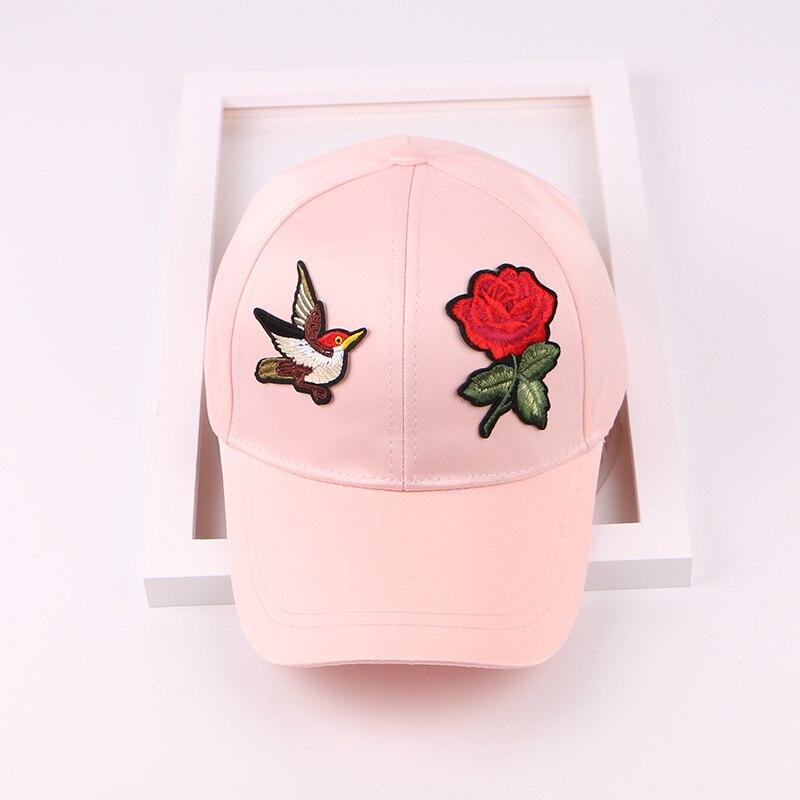 d68cdeb3505 LANHUIFD Female Spring And Summer Hat Korean Version Roses Embroidery Satin Baseball  Cap Birds Trendy Cap Traveling Sun Tide-in Baseball Caps from Men s ...