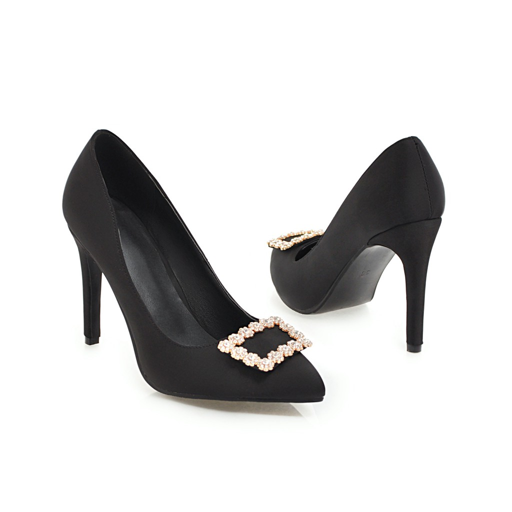 tacchi Black 10cm bassi Donna Primavera scarpe Flock New alti rosso 10cm Crystal Wetkiss a punta Women scarpe 2019 Party Pumps xw86qCa0T