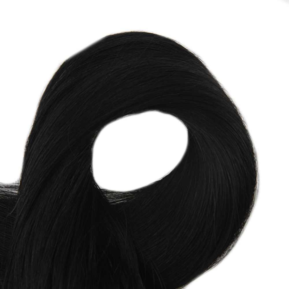 Полный блеск 1 г на нитке 50 грамм посылка микро кольцо петля наращивание волос цвет #1 наконечником Remy человеческие волосы прямые расширения