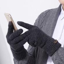 Men Knitted Gloves Thicken Winter Warm Gloves Touch Screen M