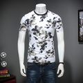 M-5XL Cuello Redondo Con Estampado Floral Para Hombre T Shirts Moda 2017 Corto manga de la Camiseta Hombres de la Marca de la Aptitud camiseta de Los Hombres t-shirt Homme TB40