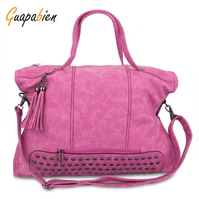 Guapabien Rivet Nubuck Leather women bag Fashion Tassel Messenger Bag Vintage Shoulder Bag Larger Top-Handle Bags Mummy Package