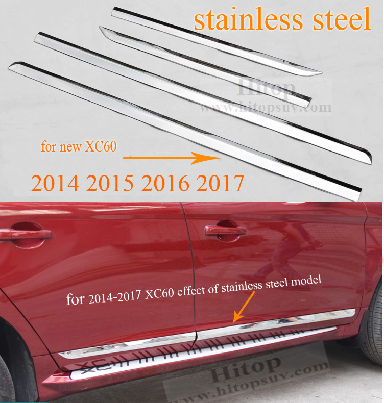 body side molding door moulding door decoration trim for Volvo XC60, stainless steel or ABS, 4pcs/set,2009-2013 or 2014-2017 купить