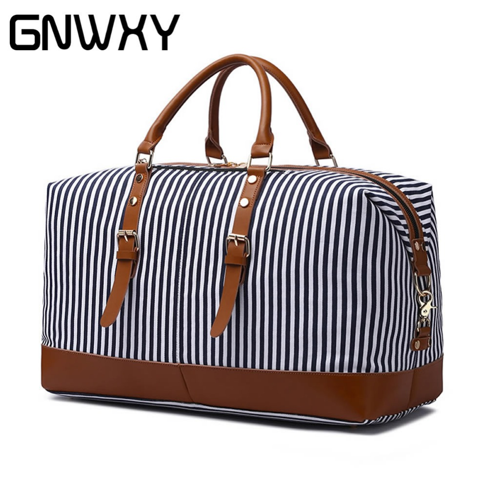 GNWXY Canvas Leather Striped Travel Bag Large Capacity Weekend Bag Overnight Carry On Luggage Handbag Women Handbag Shoulder BagGNWXY Canvas Leather Striped Travel Bag Large Capacity Weekend Bag Overnight Carry On Luggage Handbag Women Handbag Shoulder Bag