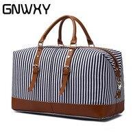 GNWXY Canvas Leather Striped Travel Bag Large Capacity Weekend Bag Overnight Carry On Luggage Handbag Women Handbag Shoulder Bag