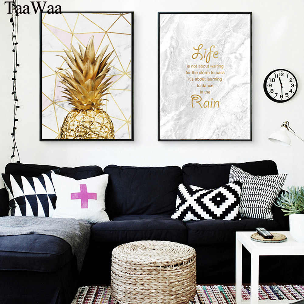 TAAWAA Golden Pineapple Wall Art Canvas Posters Prints Motivational Painting Quote Marble Decorative Pictures for Living Room