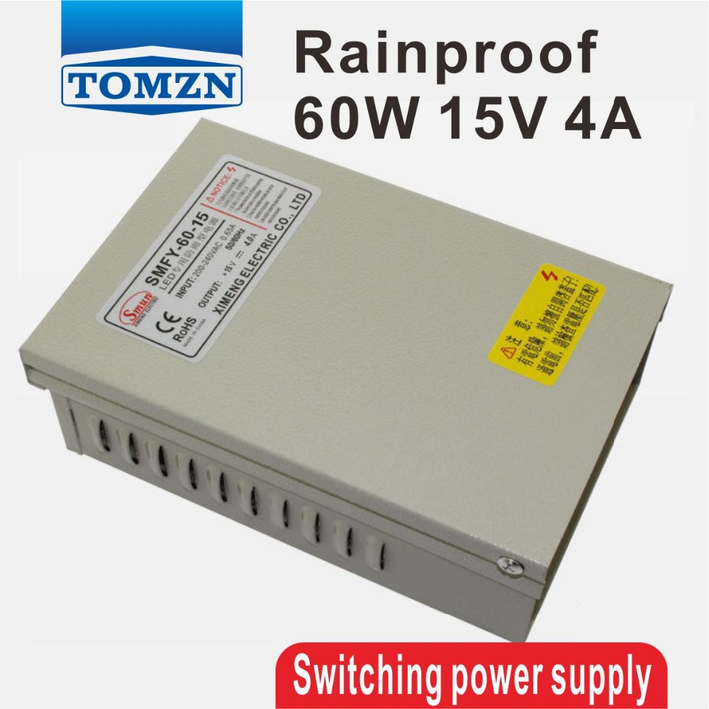 60W 15V 4A Rainproof outdoor Single Output Switching power supply smps AC TO DC for LED 145w 24v 6a single output switching power supply for led strip light ac to dc smps