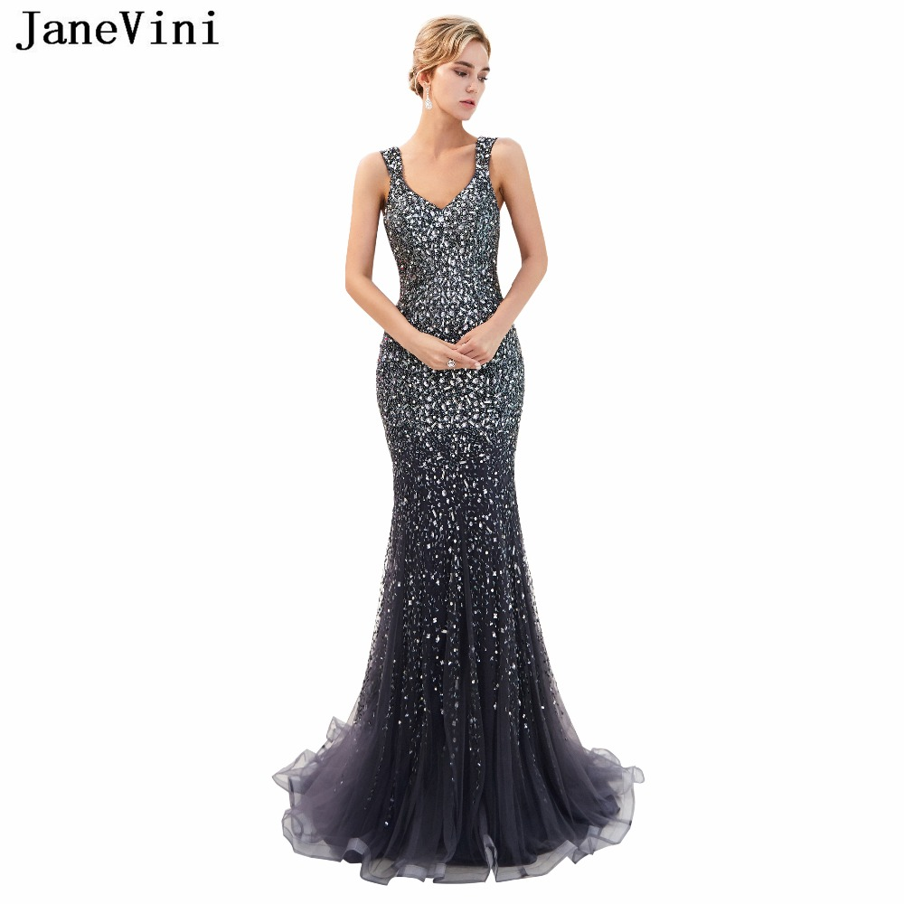 JaneVini Luxury Full Beading Tulle Long   Bridesmaid     Dresses   Sweep Train V Neck Illusion Back Sexy Mermaid Women Prom Party Gowns