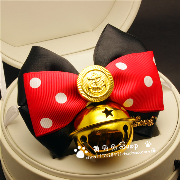 Mickey Mouse Arco Collar Del Animal Doméstico Campanas Hechas A Mano Collares pa