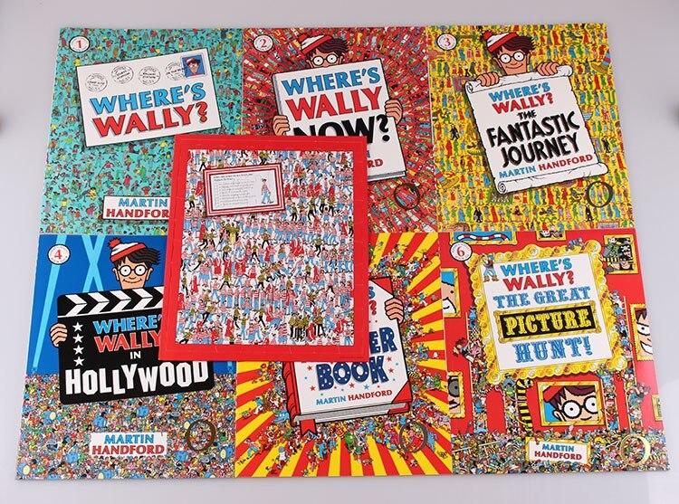 6 pcs grande formato A4 Inglese libri In Cui delle Wally Bambini di Osservazione di Visione di messa a fuoco treno Trovare con Jigsaw regalo per bambini di Infanzia su  Gruppo 3