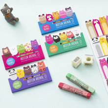 1 X Sticky Memo Pad Kawaii Stationery Cartoon Animals Pages Marker Memo Bookmark for Kids Escolar School Supplies