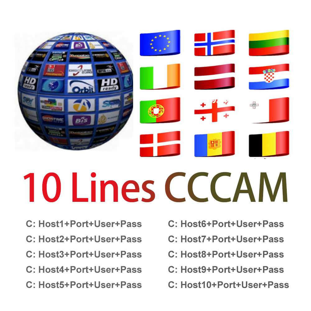 1 Year line Europe 7 10 lines Card sharing Server Mgcam Oscam Cccams for VU  Starsat Satellite TV Receiver via usb wifi