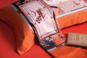 Image 3 - مجموعة أغطية سرير فاخرة أوروبية جديدة لعام 2019 مصنوعة من القطن بتصميم بسيط على شكل حصان وملاءة سرير برتقالية