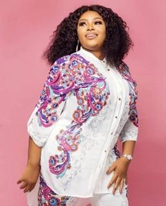 Image 2 - Africa Clothing African Print Elastic Bazin Baggy Pants Rock Style Dashiki SLeeve Famous Suit For Women Coat + Leggings 2pcs/se