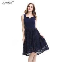 Aamikast V neck Summer Elegant Vintage Lace Dresses Bandage Fit And Flare Patchwork Party Wear Work Casual Dresses Plus Size