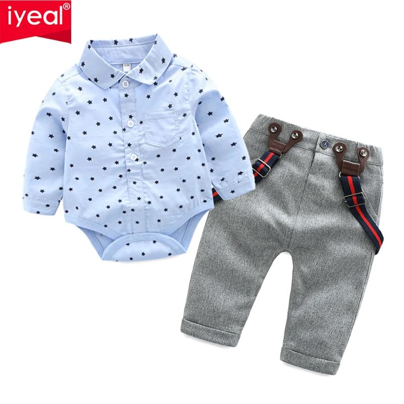 3d4d5e9c4e116 IYEAL Baby Boys Gentleman Cotton Long Sleeve Bodysuit Shirt and Pants  Outfits Suits Infant Suspender Overalls Clothes Sets 0-24M